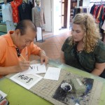 Chandra learning from Master Calligrapher, James Koh