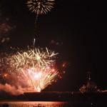 Fireworks off USS Yorktown Deck