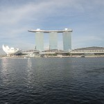 View of Bay Hotel in Singapore with Lotus sculpture